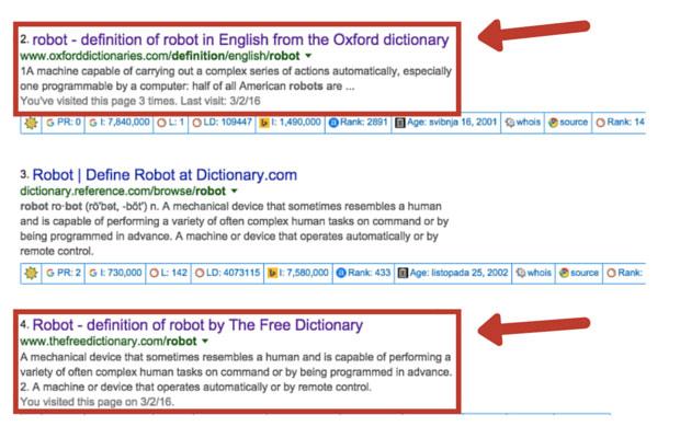 Rezultati Google pretrage za ključnu riječ
