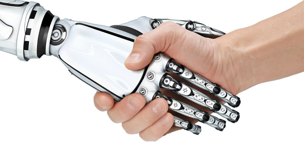 man and robot handshake